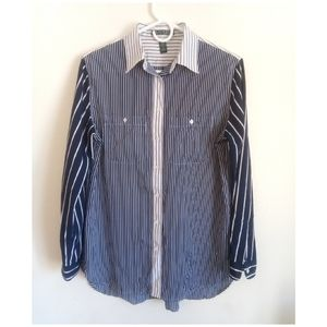 Lauren Ralph Lauren Button Front Striped Blouse